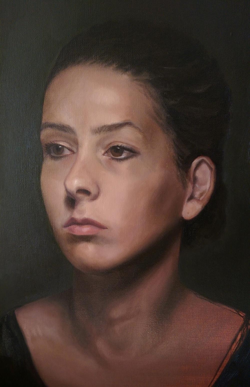 Geschilderd Portret - Rosa - Olie op doek