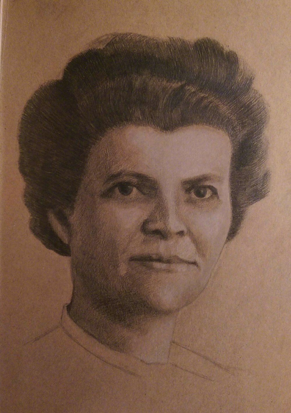 Getekend Portret - naar oude miniatuurfoto - Krijt en Grafiet op papier