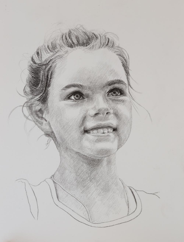 Portret kind - Grafiet op wit papier