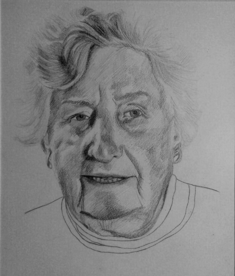 Getekend Portret Oma - Grafiet op papier