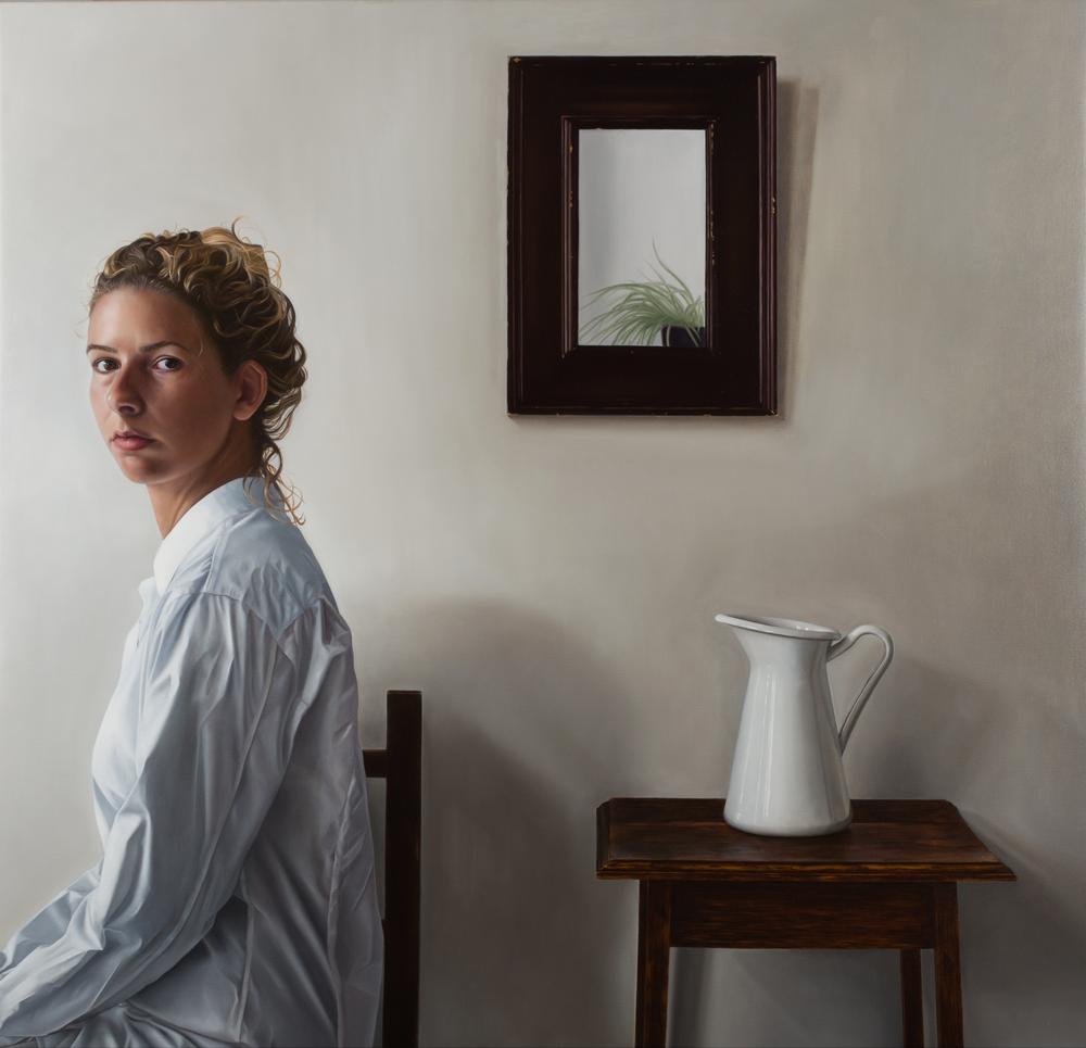 WHITE (sold)  Oil on board (73 x 70)  Genomineerd voor de Nederlandse Portretprijs