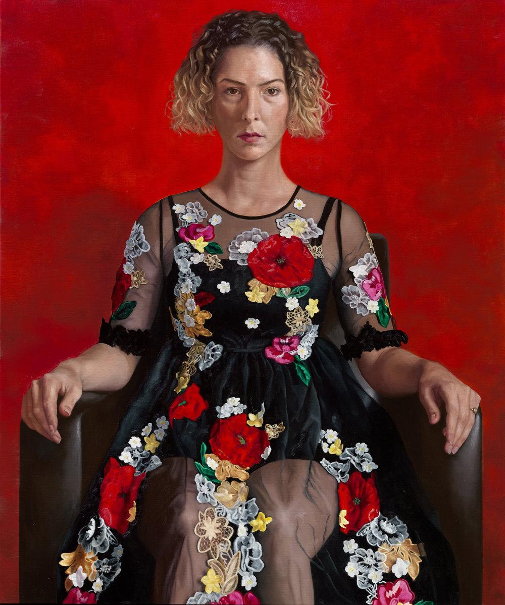"""""""an unintended facade"""" - 2018 Oil on canvas (96 x 130) Geselecteerd voor 'Weekend van het portret' door De Nederlandse Portretprijs  Van 31 augustus tot en met 2 september 2018 te zien in Loods 6 te Amsterdam."""