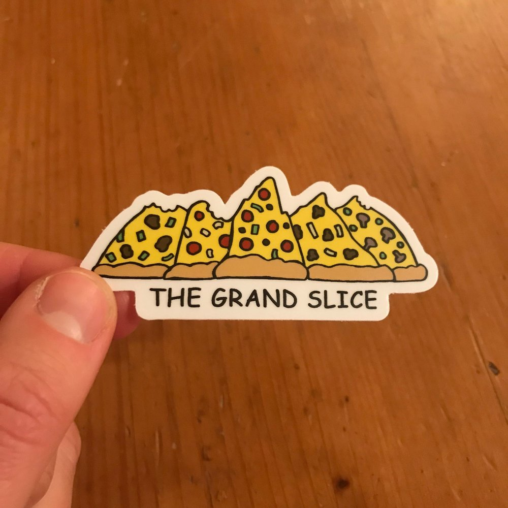 Drawing of Tetons as pizza slices