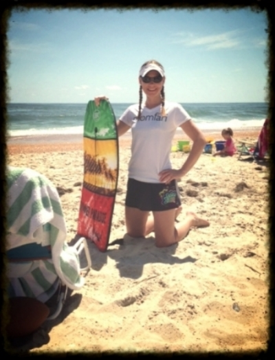 Mombassador Sophie preparing to body surf during a vacation in Outer Banks, N.C.
