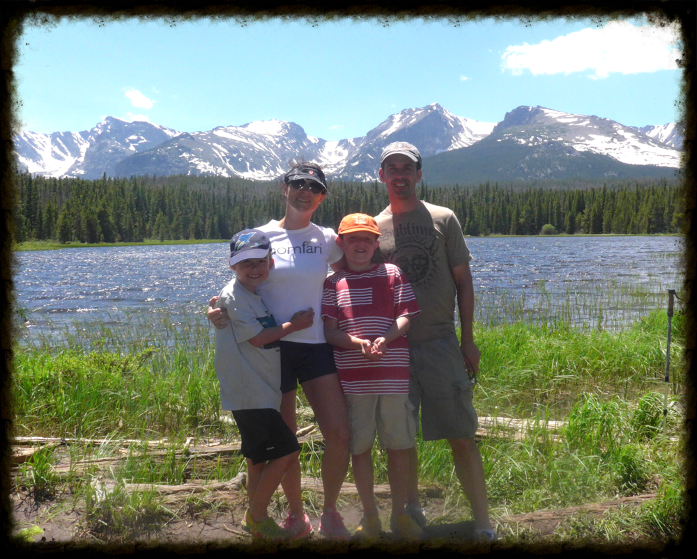 Posing at Bierstadt Lake on a June 2015 trip to Rocky Mountain National Park, located about an hour from our Longmont home.