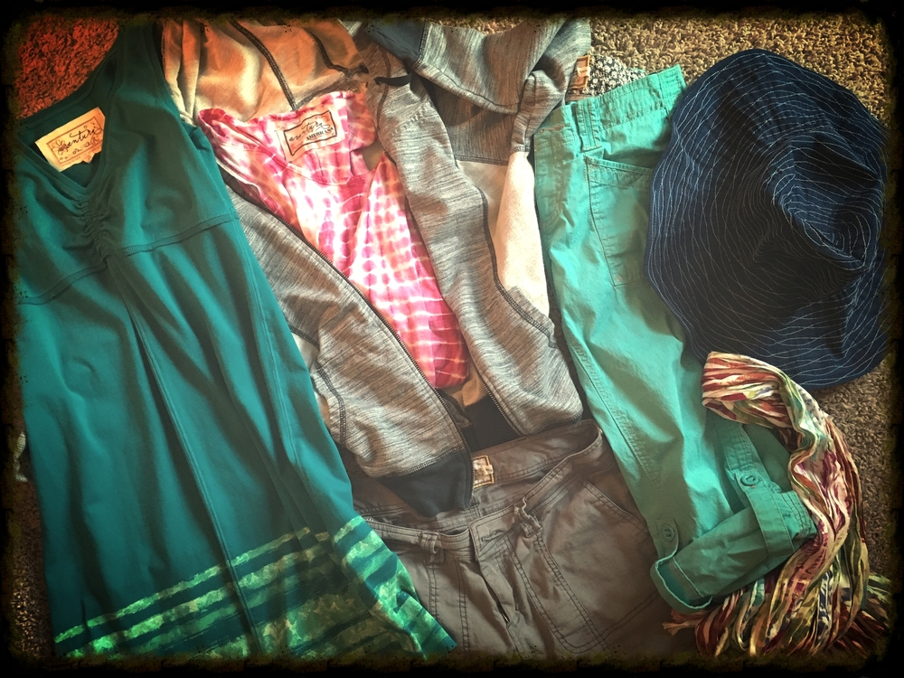 My Aventura summer-vacation favorites, pictured clockwise from left:    Fleur Dress, Finley Hoodie (with Kerrick Tank), Arden Capri,  Cruz Sun Hat (navy, $34) ,  Rio Scarf  (turquoise, $27) and Kiefer Short.