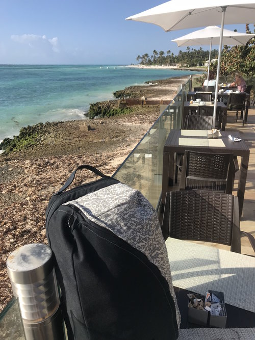 I brought my cherished bag with me to Club Med Punta Cana in March.