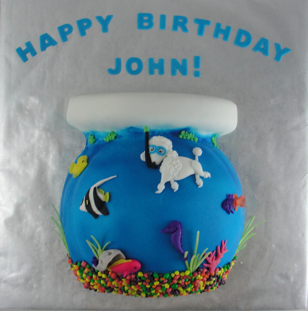 Snorkeling Poodle Cake