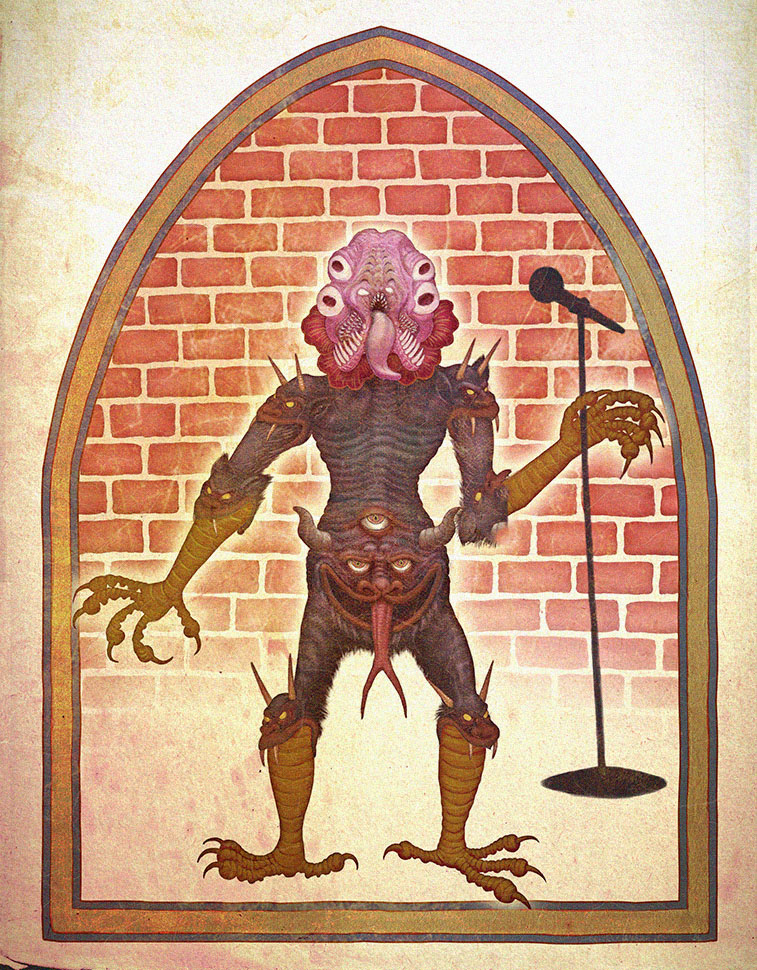 Illuminated manuscript illustration of the demon Semopheth from  Chronicle Books ' book trailer for  Funny On Purpose  by  Joe Randazzo . After Effects, Photoshop.