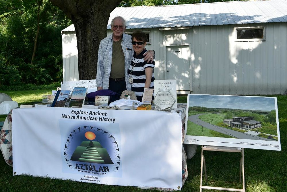 Meanwhile, up at the Lake Mills Aztalan Historical Site … Bob Persons and Nona Christiansen.   Photo courtesy of Kristine Kust