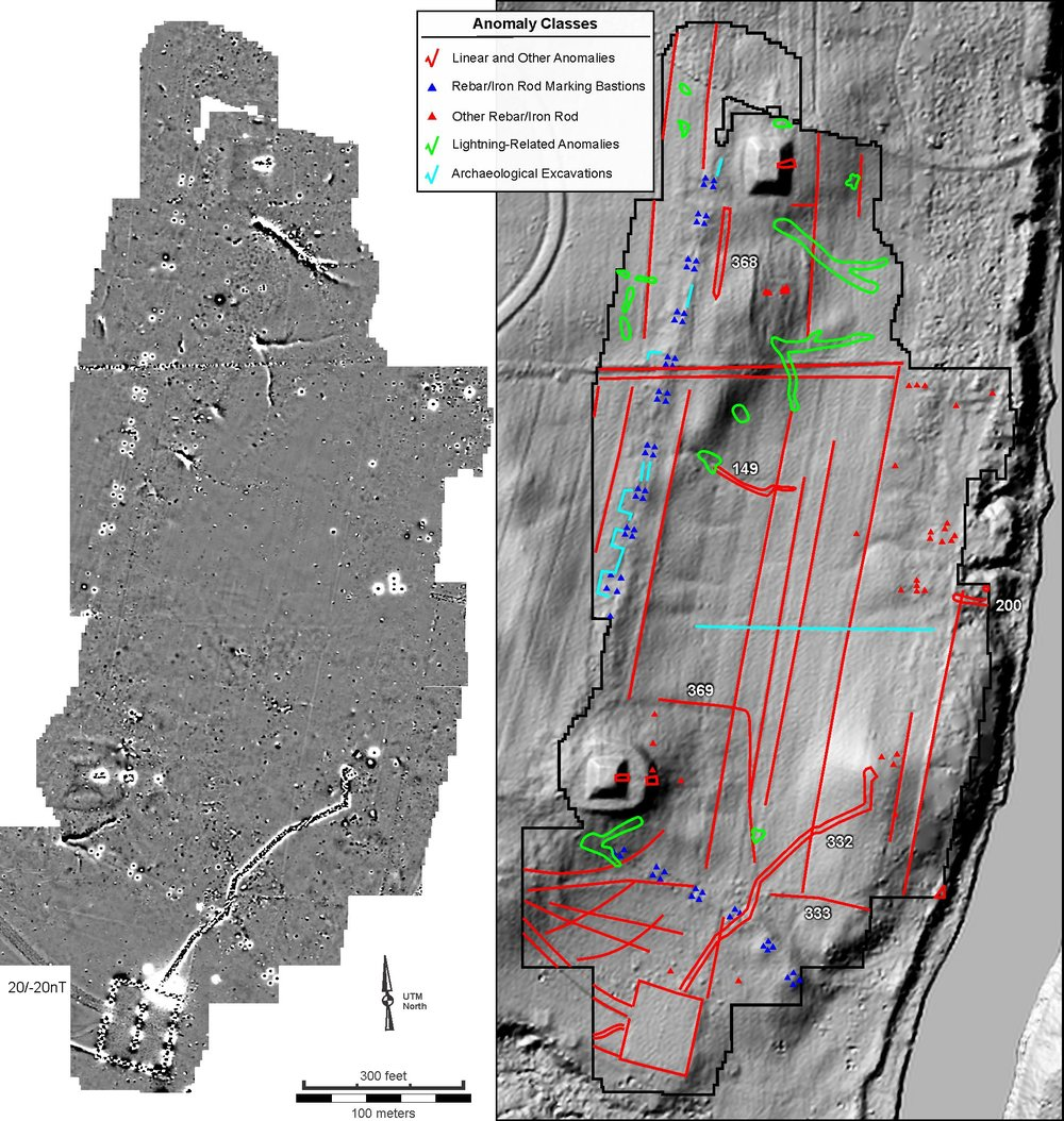 Figure 23. Historic-era and natural-source anomalies numbered and detailed in Appendix C and low-contrast map of the magnetic data and (right) on a shaded relief map based on LiDAR dat.