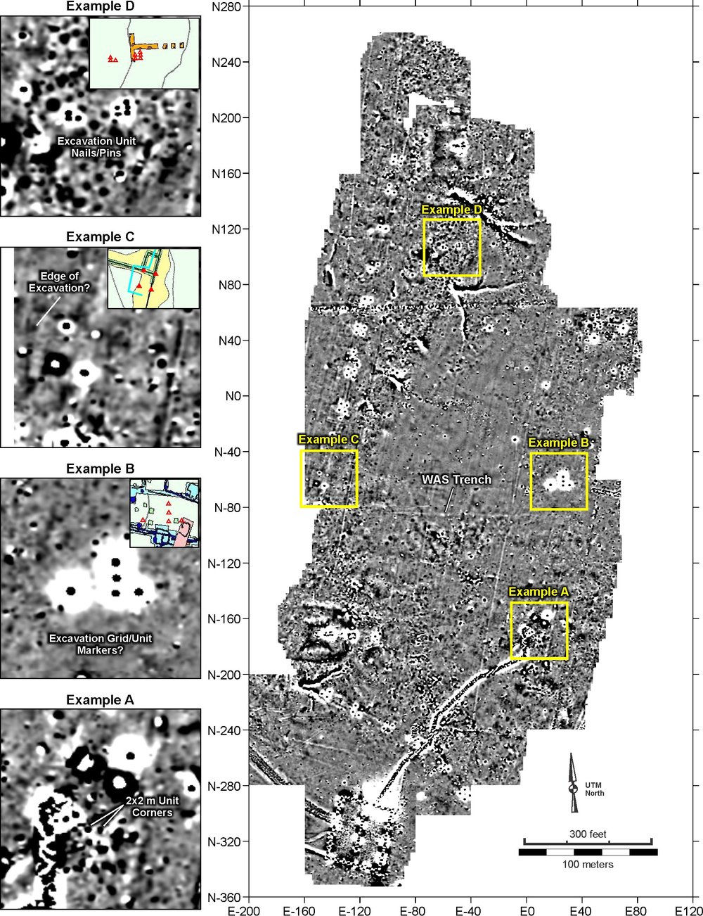Figure 24. Detail view showing several areas with anomalies perhaps related to previous excavations.