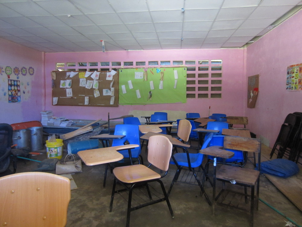 8. Although school was not in session (summer vacation), we were able to visit the school in Hato Raton that serves students from 1st through 9th grades. This classroom is representative of the classrooms that many of students study in until they reach 10th grade.