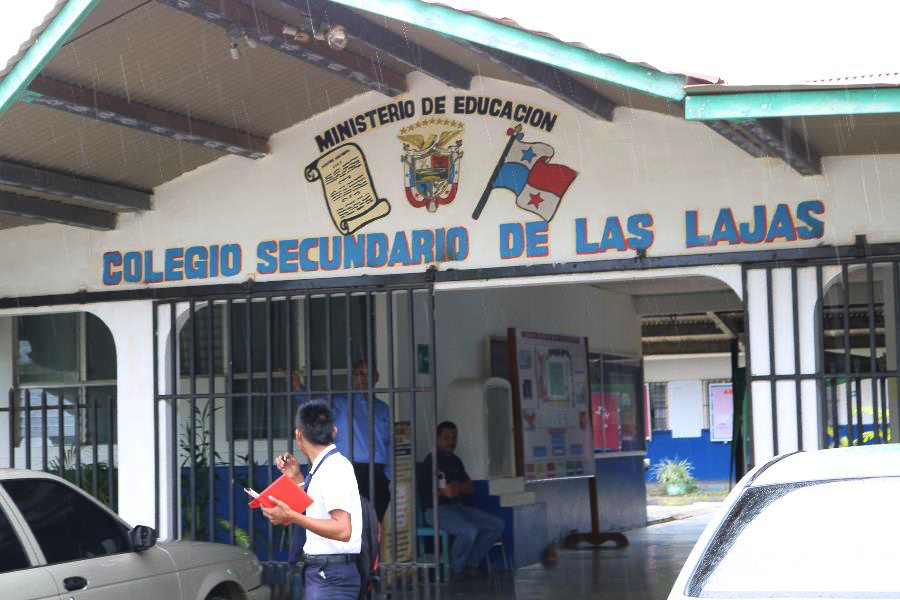 Several of the Few for Change scholarship recipients board near Las Lajas during the week or take a chiva every day to attend the Las Lajas high school.