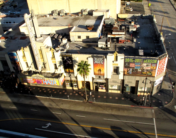 View from roof of hotel. Hollywood's walk of fame.