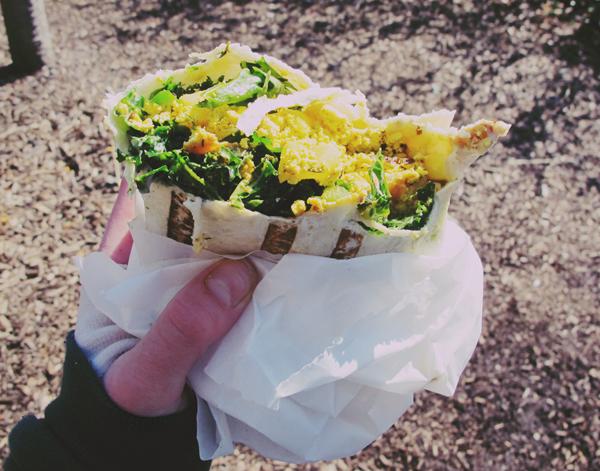 Vegan sage tempeh scrambler burrito.