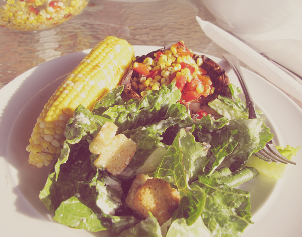 Summer Dinners. Salad. Corn. Portobellos with corn and pepper salsa. Erin always makes a mean dish.