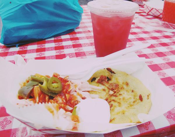 Veggie Pupusas & Watermelon and pepper juice!