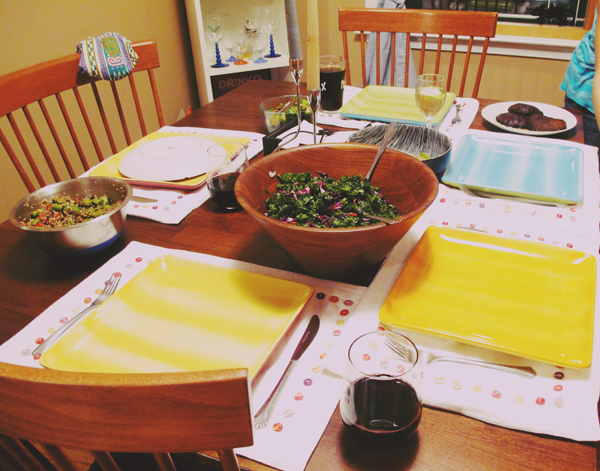 Family Dinner last week. Was a veggie feast, though I'm pretty sure Amanda didnt eat anything green!