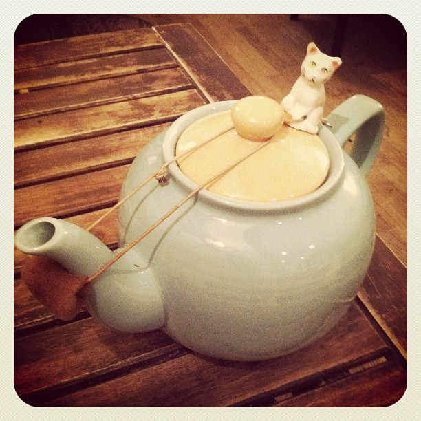 Nothing like a kitty on your teapot! (Taken with instagram )