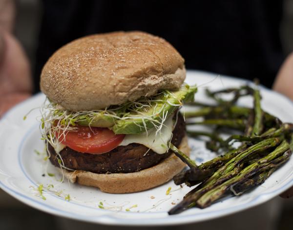 Portobello Mushroom Burger W/ Asparagus