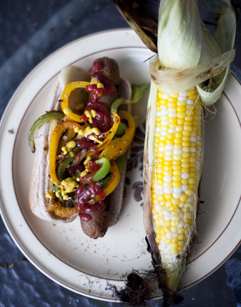 Veggie Sausages with grilled Corn….I dont know what I'm going to eat when Tony leaves.