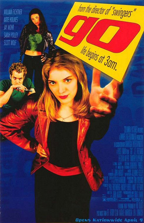 "I watched the 1999 movie Go last night. I bought the soundtrack when I was 13 and never saw the movie until now. I expected to be disappointed but was pleasantly amused and surprised. Not a cinematic masterpiece or anything, but worth the hour and half of watching. Expect drugs, sex, hotel rooms on fire, girls hit by cars, katie holmes, and gay men. I still think the soundtrack baller.    1. New  2. Steal My Sunshine  3. Magic Carpet Ride - (Steir's Mix)  4. Troubled by the Way We Came Together  5. Gangster Tripping  6. Cha Cha Cha - (""Go Remix"" mix, Go remix)  7. Song for Holly  8. Fire up the Shoesaw - (LP version)  9. To All the Lovely Ladies - (Radio Mix)  10. Good to Be Alive  11. Believer  12. Shooting up in Vain - (T-Ray Remix, T-Ray remix)  13. Talisman  14. Swords"