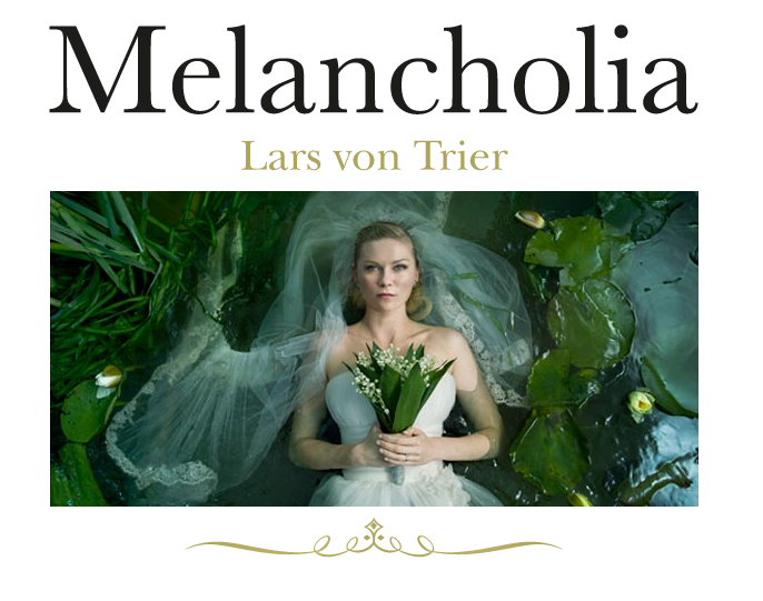 I knew I wanted to see Melancholia as soon as I saw the photos and the trailer. Finally after 2 months I got around to watching it. And I plan on watching it again. Its dark, depressing, and slow, but really really visually beautiful. Kirsten Dunst is stunning and somehow manages to be totally dysfunctional and beautiful at the same time. Plus, how can you not be interested in a viable situation of how the earth could end.