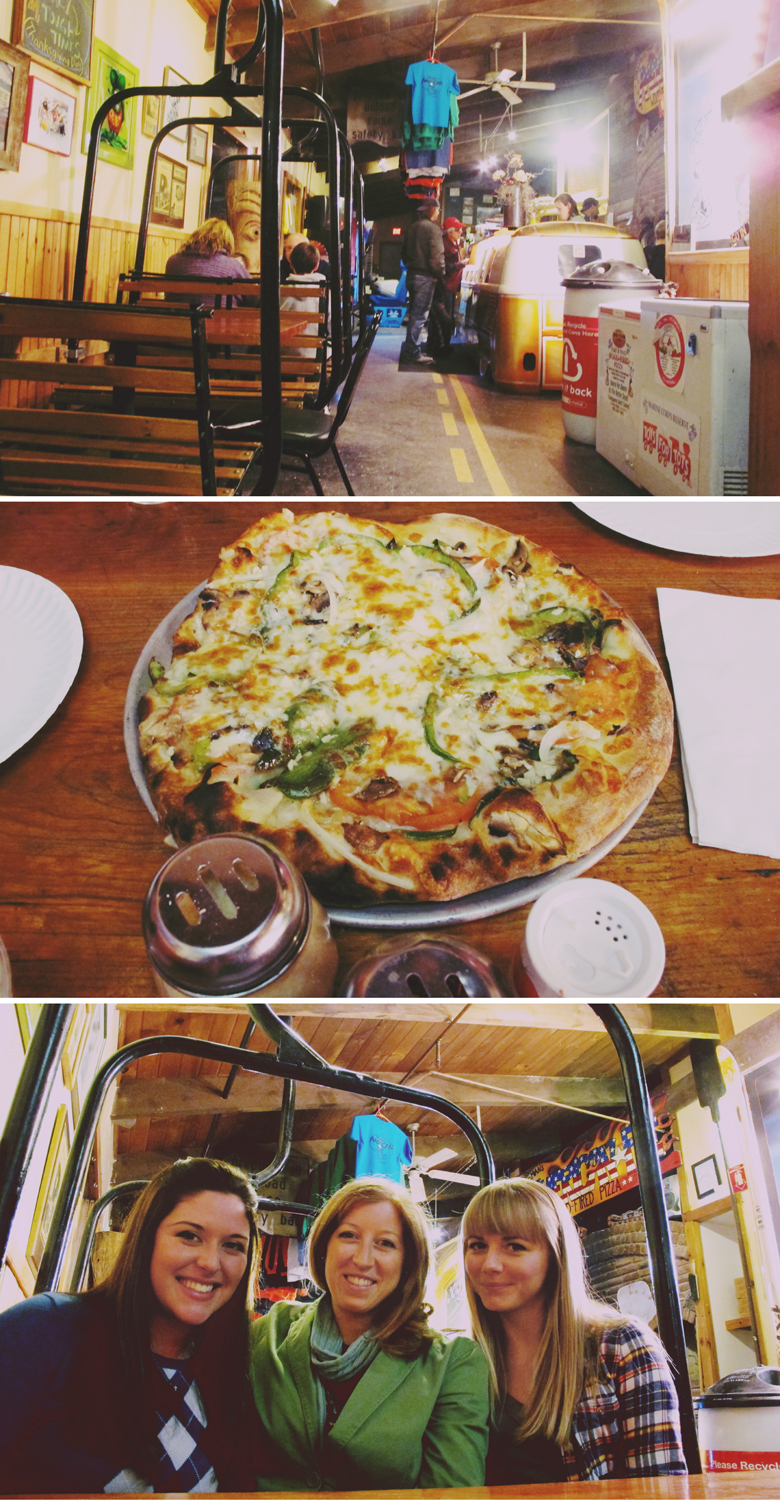 After eyeing this place up a year ago, I finally got to eat at American Pie in Ludlow, Vermont. They (the entire family, children included) serve delicious pizza out of a VW bus as you sit in old ski lift chairs while you dine. Biggest bonus was getting to see Erin two weekends in a row!