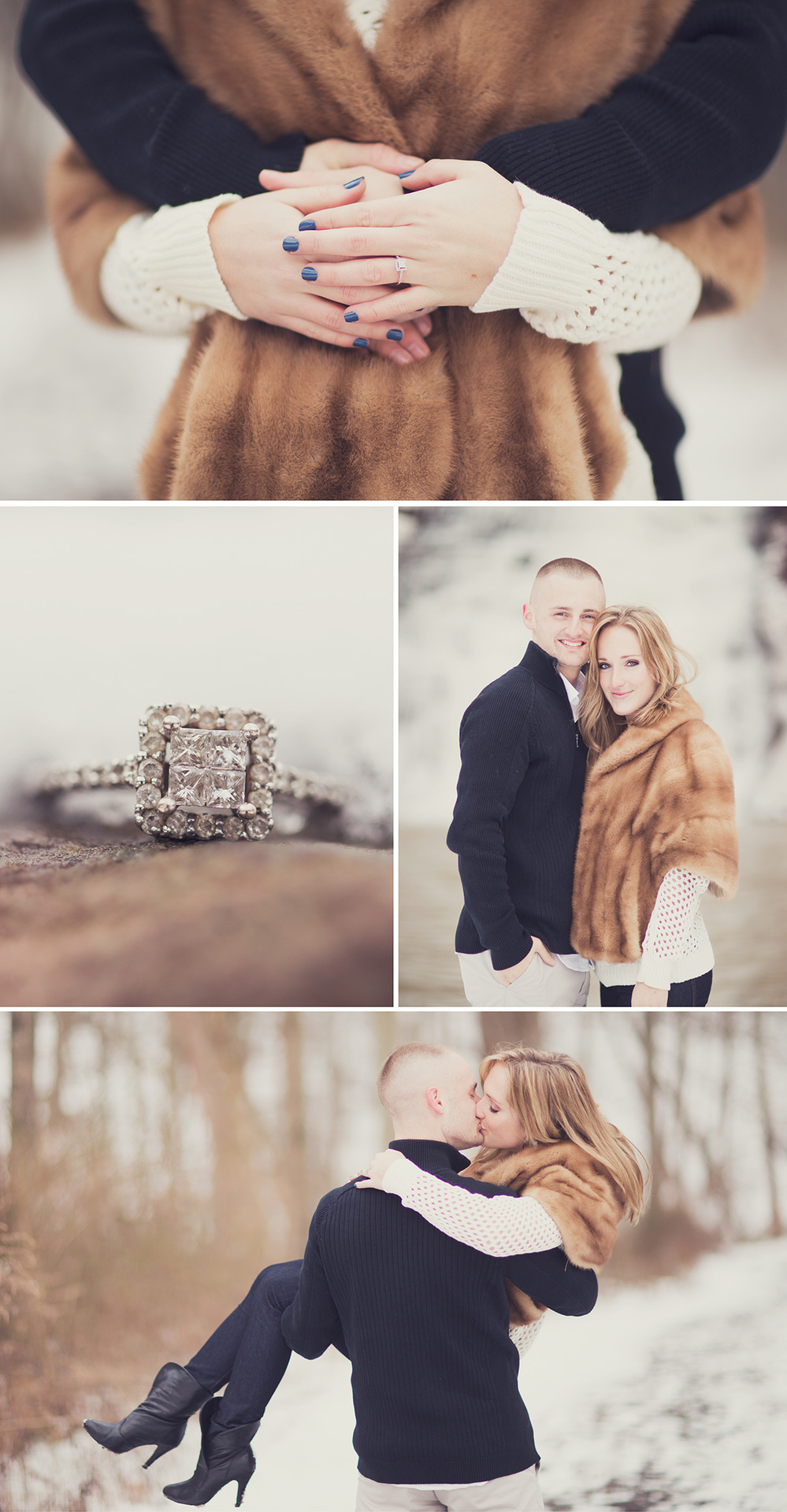 Elissa & Brian   Beautiful winter weather in western upstate New York made for a great backdrop for Elissa and Brian's engagement photos. They are currently living in the humid hot southern state of Mississippi, so it was a fun change to take some photos in the snow in their home town.