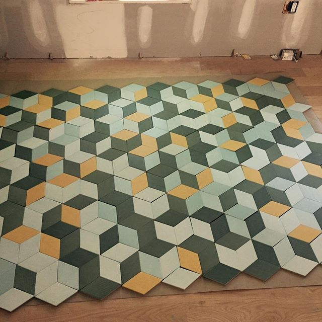 Laying out tile pattern, individual rhombus by rhombus, for fun kids' bath floor at #MananaLakeHouse with @stuartsampley and @aceroconstruction  Can't wait to share more of this project soon!