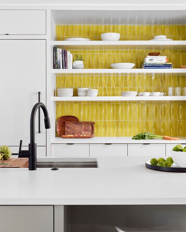 Dimensional tile in Brite Yellow glaze from @heathceramics at our #MananaLakeHouse project with @aceroconstruction and @stuartsampley Thanks to @katie_volk for the shoot styling and 📷@caseycdunn