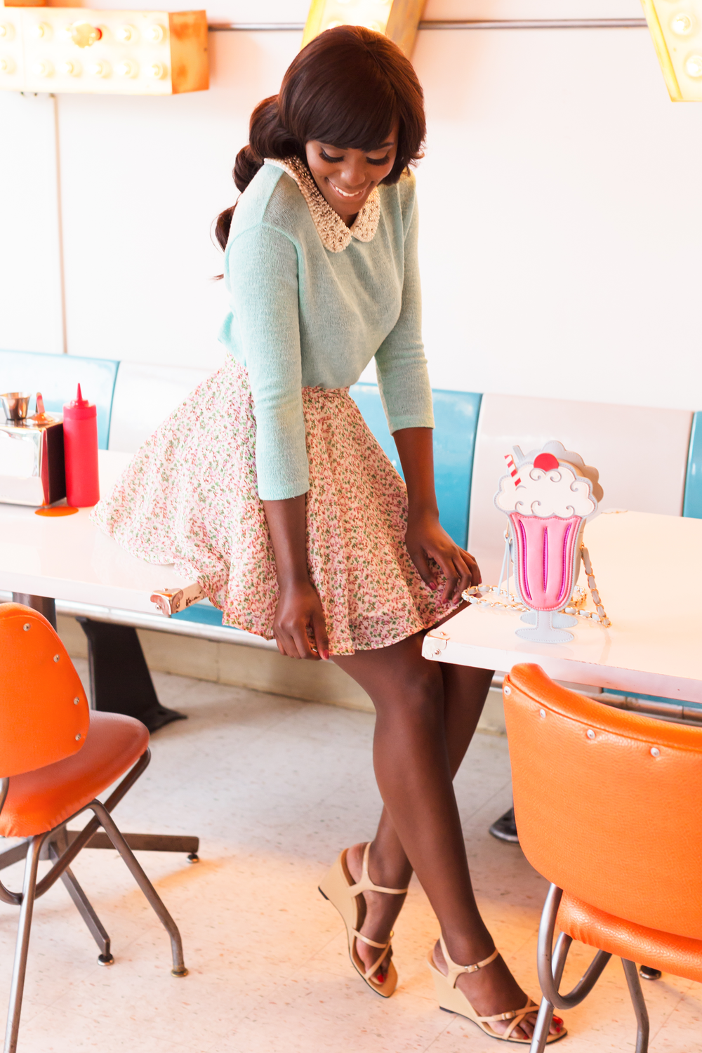 Top: Moon Collection; Skirt: Wear The Canvas; Shoes: Nine & Company; Purse: Shop Jeen