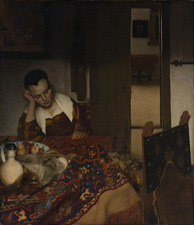 Vermeer's painting A Maid Asleep (Slapend Meisje) 1657