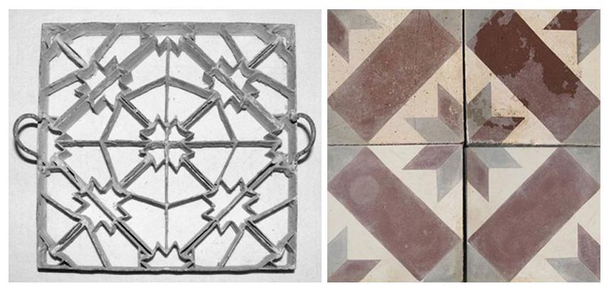 Left: Wikipedia, Cement Tile Mold, France, 1920  /  Right: Exquisite Surfaces, Antique Cement Tile