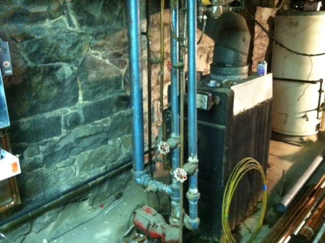 Before: taking the existing boiler apart