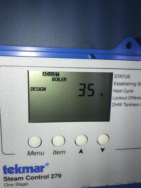 Menu-> adjust-> scroll. More percentage equals more heat when it is cold. Change increments of 5%. Wait 1 day for result.