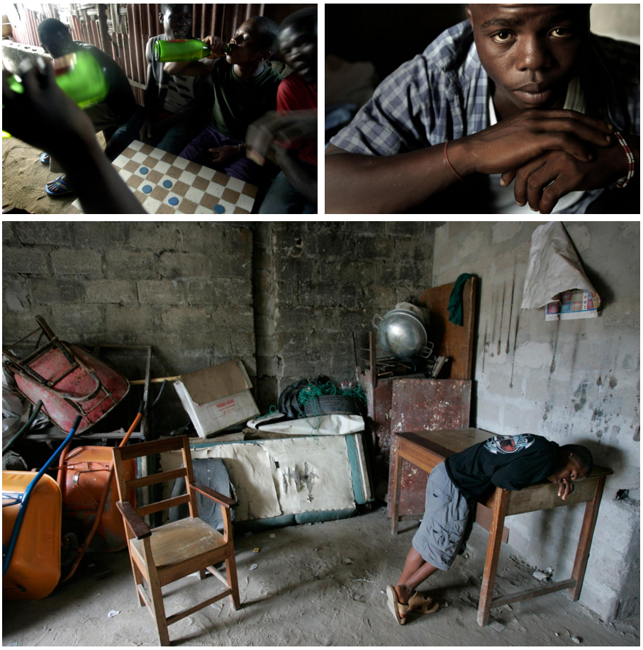 After the war ended, Momo Dukoe was left with nowhere to go. In 2005, when Takahashi found him again, he was roaming the streets with other ex-combatants. In the photo at top left, Dukoe drinks beer with some of them. In 2008, below, the photographer took photos of him in the garage where he was living.