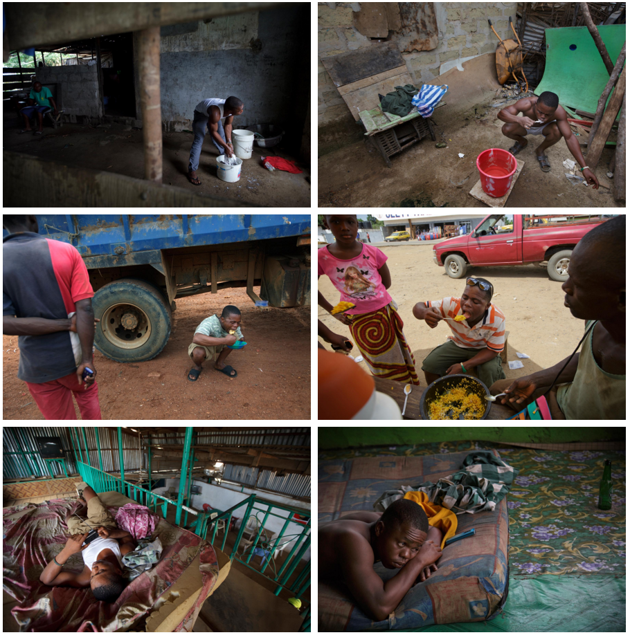 When Takahashi returned to Liberia in 2013, Momo Dukoe was barely surviving on the streets. In 2015, not much had changed. The set of photos on the left above show him washing, eating and sleeping in 2013. It was not hard for Takahashi to make similar photos in 2015, on the right.