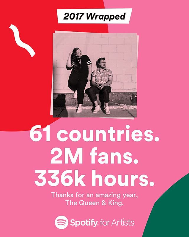 Literally insane. Don't know how/why we got so lucky, but this is incredible. We are so grateful for the endless support you guys give us. If you have ever listened to any of our music, thank you. Here's to 2018! . . . #spotify #spotifyplaylist #spotifywrapped2017 #music #coversong
