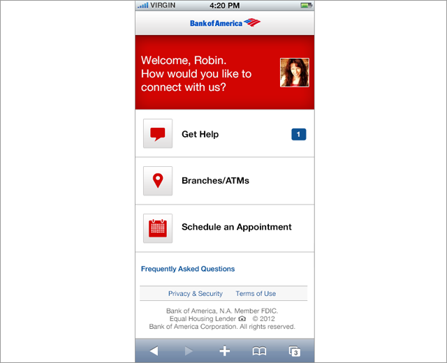 Bank of America: Facebook app