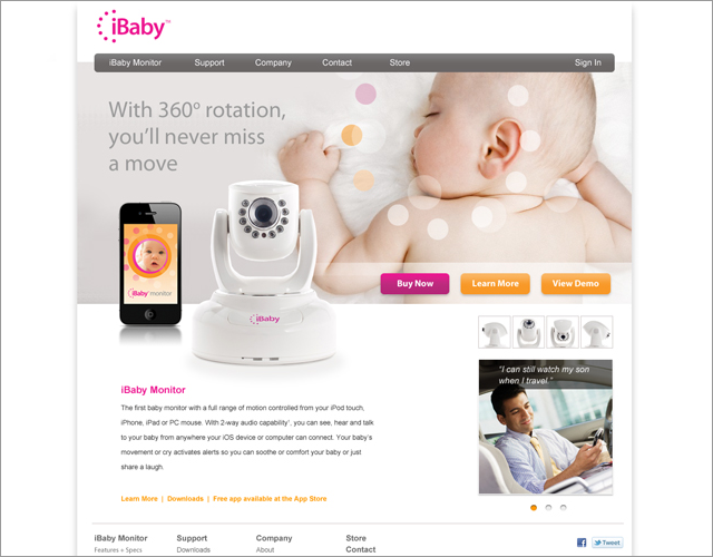 iBaby: website, home page