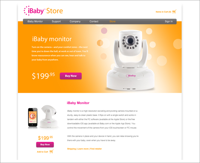 iBaby: website, store page