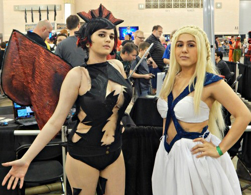 These women look amazing, but unfortunately Mo Lightning seemed to be focused on Drogon's exposed skin instead the amazing craftsmanship.