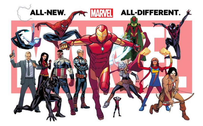 Marvel's current marketing, with Iron Man front and center.