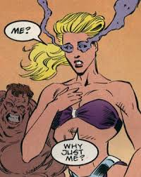 Because you look better in a purple bikini than Blob does, Eileen. That's why.