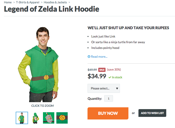 Make sure everyone knows what a lazy boy you are with this Link hoodie from Think Geek!