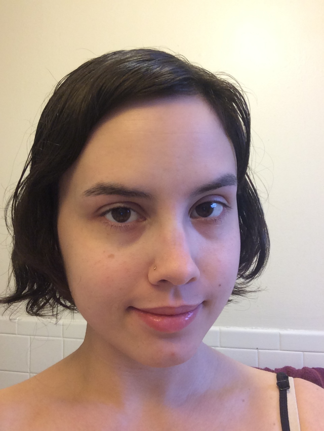 I use Jergens hand moisturizer for my face (yes, it's that dry), Rimmel Stay Matte Primer, and Pond's Luminous Finish BB+ cream in light. Here I am, all moisturized and BB'd!