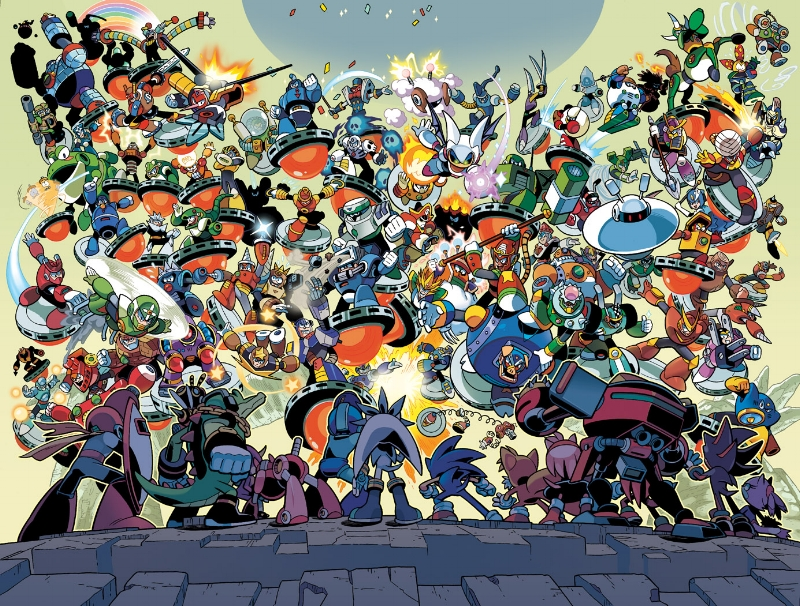 This image isn't just a great picture of a bunch of robot masters, but it's from the great Mega an comic run.