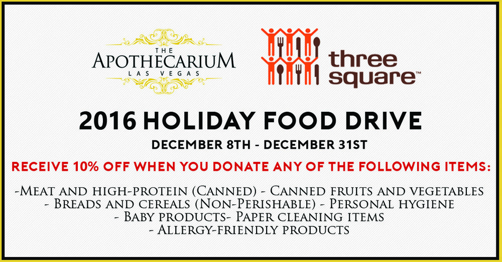 the apothecarium las vegas a medical cannabis dispensary discusses the holiday food drive for three square